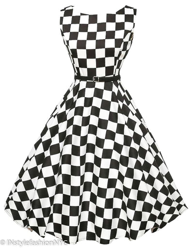 Women's Black And White Checkered Vintage Dress, INstyle fashion