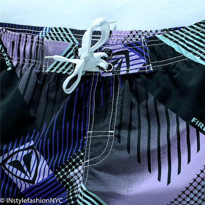 Men's Purple And Black Grid Swimwear, INstyle fashion