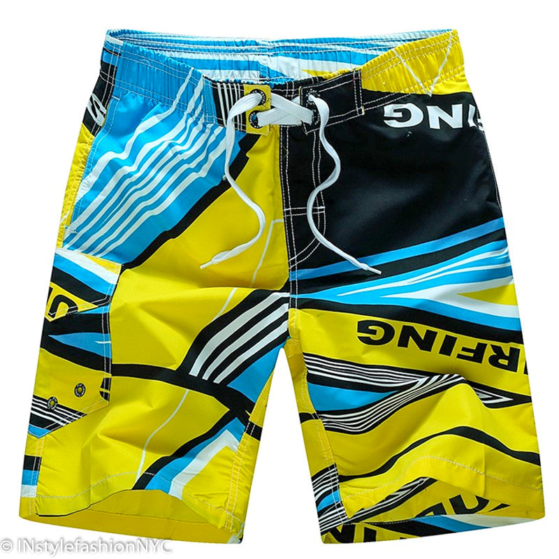 Men's Yellow And Black Surfing Swimwear, INstyle fashion