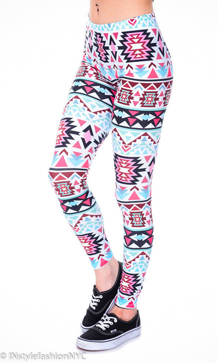 Women's Pink And Blue Aztec Fashion Leggings, INstyle fashion
