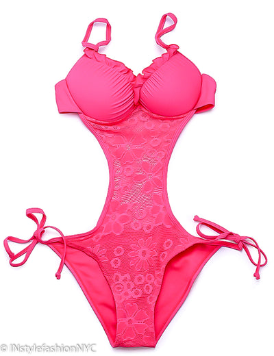 Women's Pink Lace Monokini Swimwear