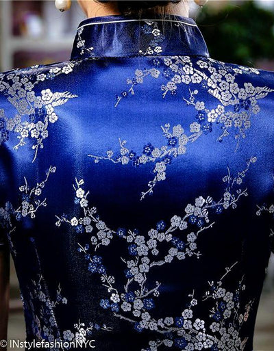 Women's Navy Blue Flowering Qipao Dresses, INstyle fashion