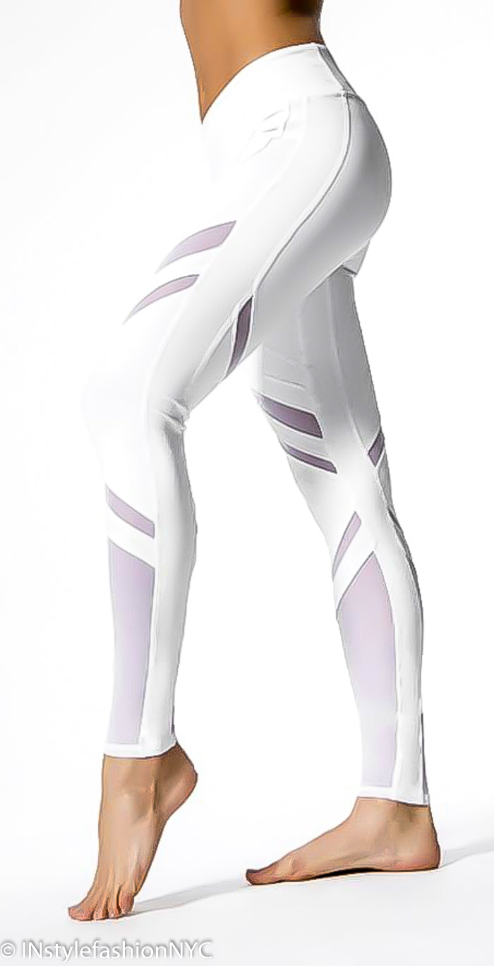 Women's White Patchwork Fitness Leggings, INstyle fashion