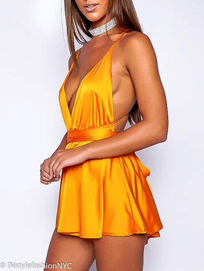 Women's Yellow Silky Mini Summer Dress, INstyle fashion