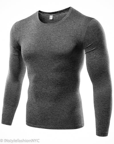 Men's Gray Quick Dry Compression Shirt, INstyle fashion