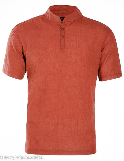 Men's Casual Short Sleeve Rust Colored Linen Shirt, INstyle fashion