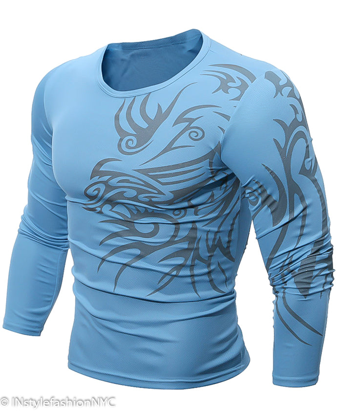 Men's Long Sleeve Shirt With Abstract Dragon, INstyle fashion