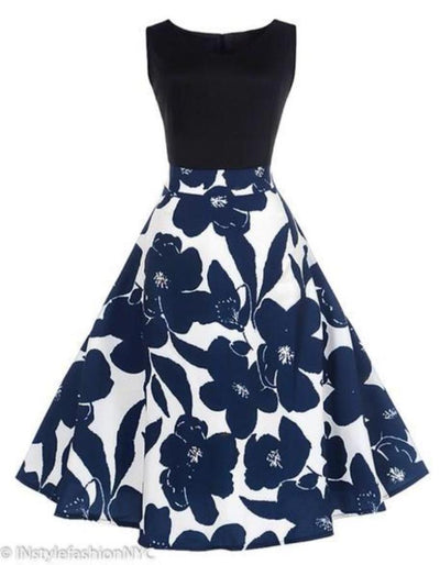 Women's Black With Blue Floral Vintage Dress, INstyle fashion