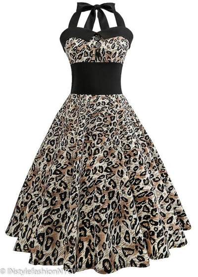 Women's Leopard Animal Print Vintage Dress, INstyle fashion