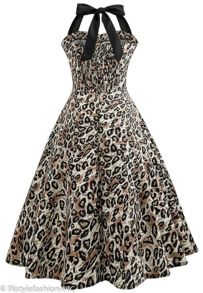 b155af990b09d Women s Leopard Animal Print Vintage Dress
