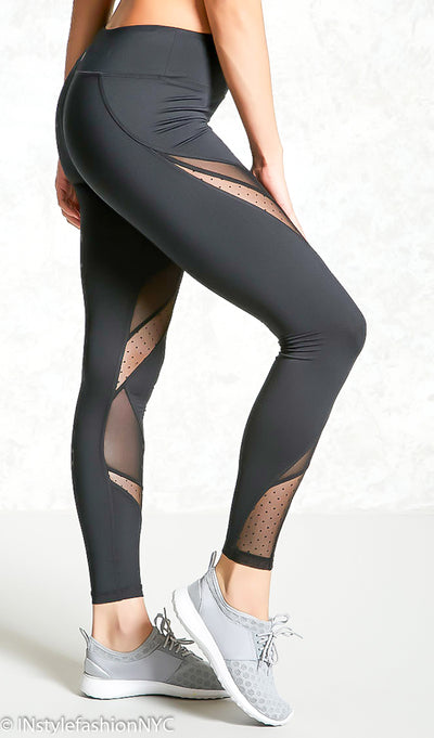 Women's Black Mesh Patchwork Leggings, INstyle fashion
