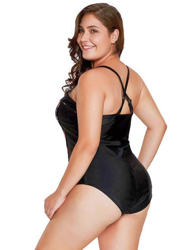Women's Black Rose Plus Size Swimwear, INstyle fashion