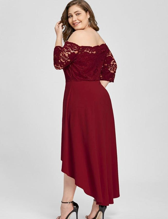 Women's Red Off Shoulder Plus Size High Low Dress, INstyle fashion