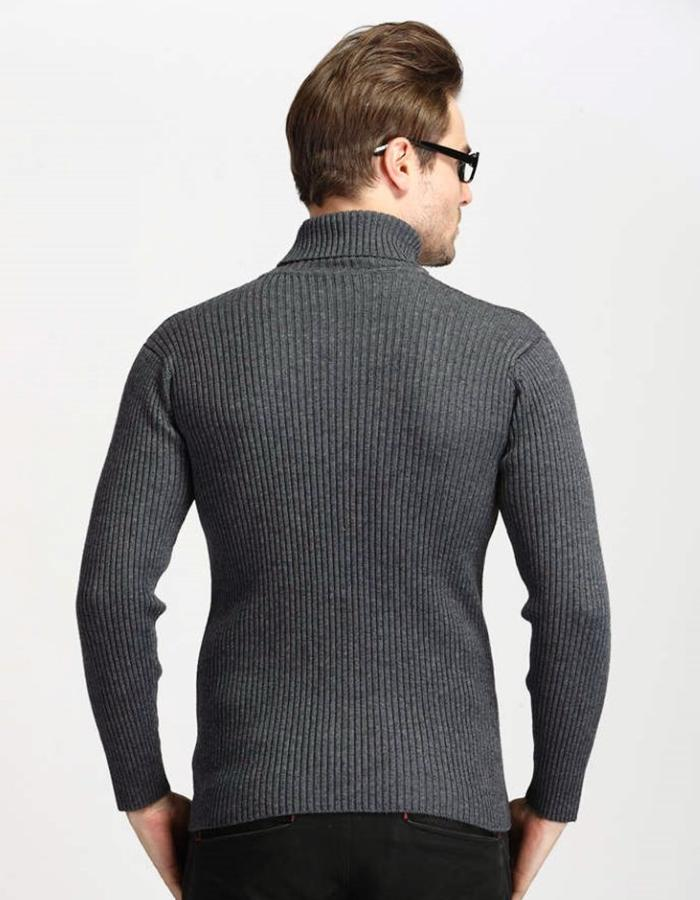 Men's Gray Classic Turtleneck Sweater, INstyle fashion