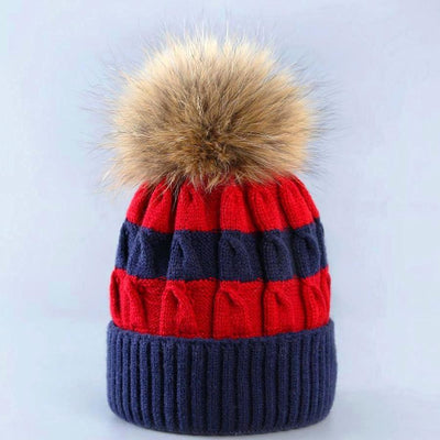 women_red_and_blue_striped_knit_beanie_with_fur
