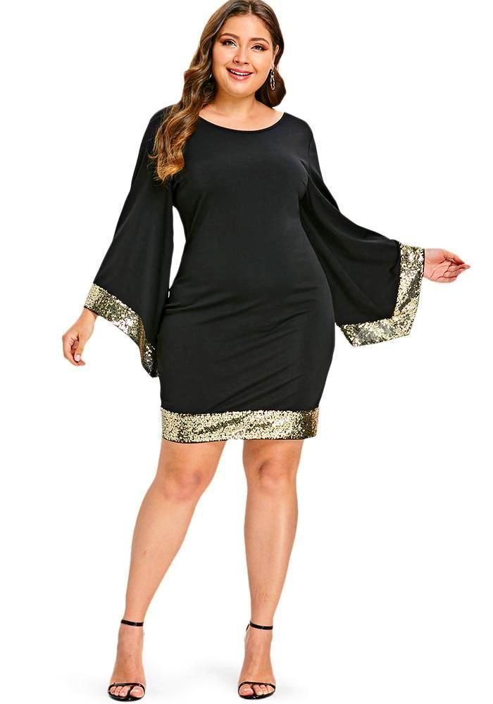 Women's Black Plus Size Dress With Gold Sequin Trim, INstyle fashion