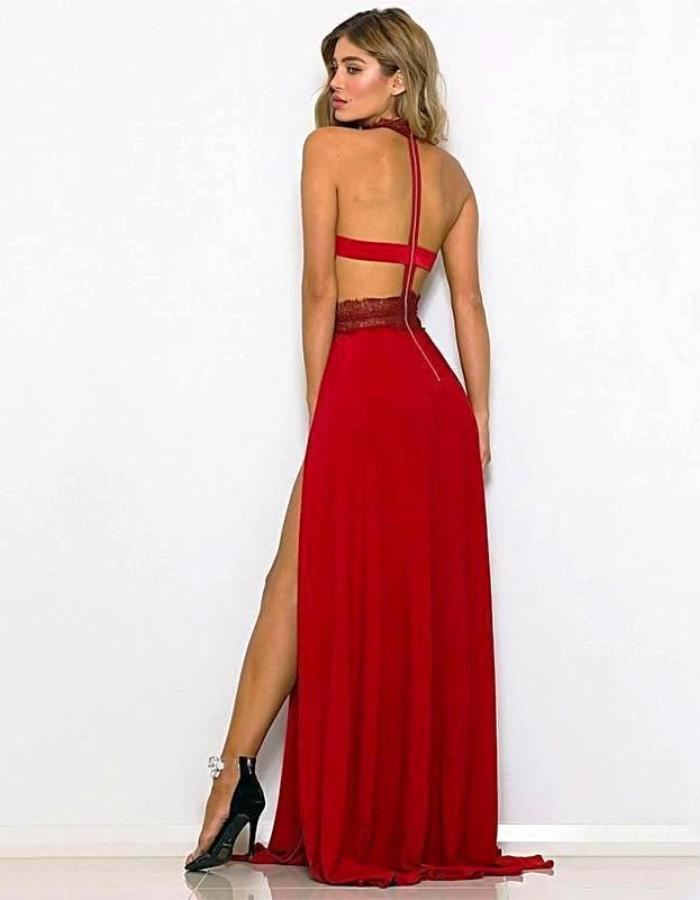 Women's Red High Split Halter Evening Dress, INstyle fashion