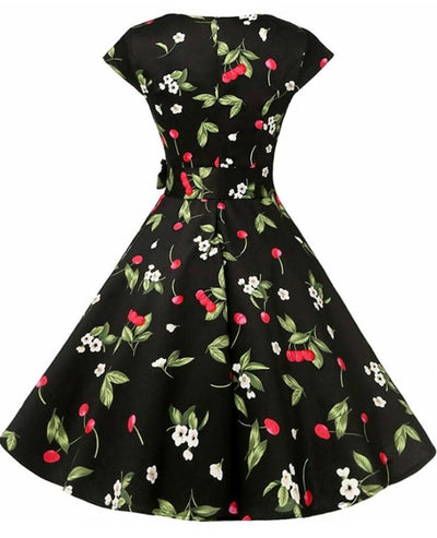 Women's Black Vintage Dress With Cherries, INstyle fashion
