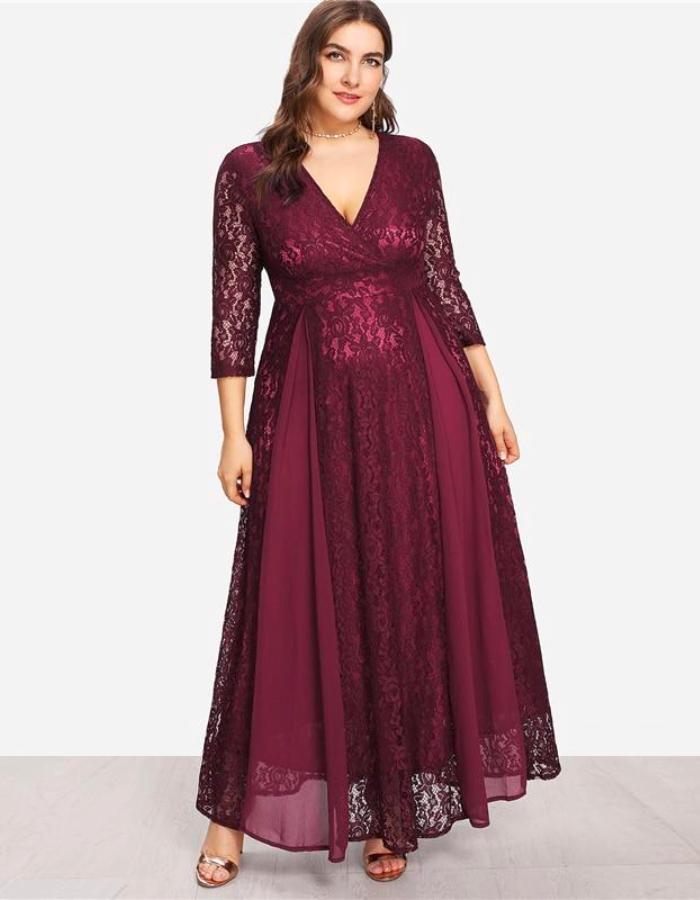 Women\'s Burgundy Flowing Plus Size Dress, INstyle fashion - INstyle ...