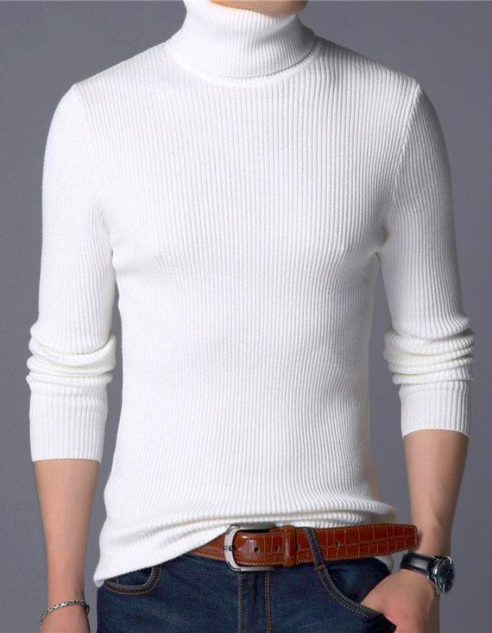 Men's White Turn Down Turtleneck Sweater, INstyle fashion