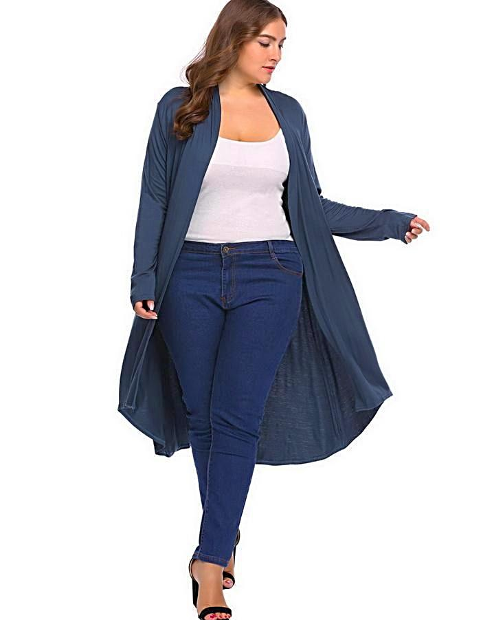 Women's Navy Blue Long Cardigan Sweater, INstyle fashion