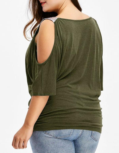 Women's Green Sequin Cold Shoulder Plus Size Blouse