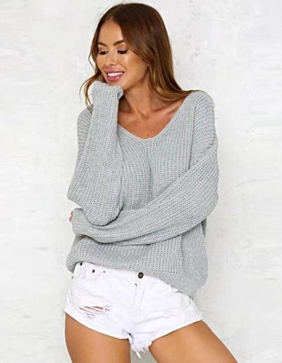 Women's Gray Sweater With Lace Up Back, INstyle fashion