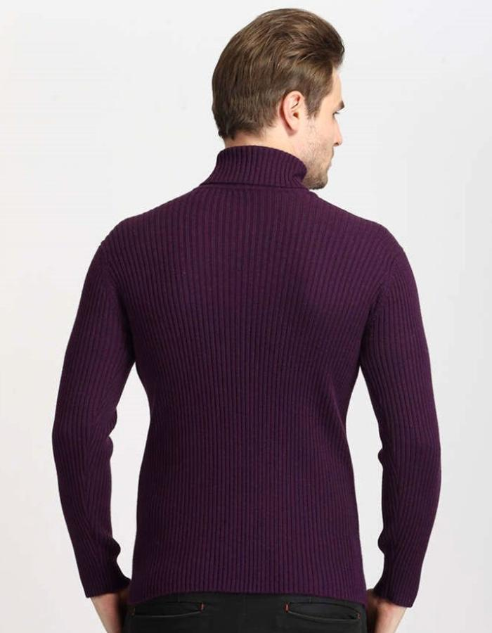 Men's Purple Classic Turtleneck Sweater, INstyle fashion