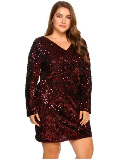 Women\'s Burgundy Long Sleeve Sequin Plus Size Dress, INstyle fashion ...