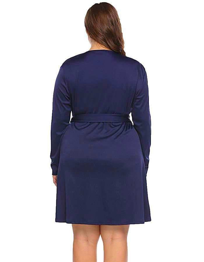 Women's Dark Blue Wrap Around Plus Size Dress, INstyle fashion