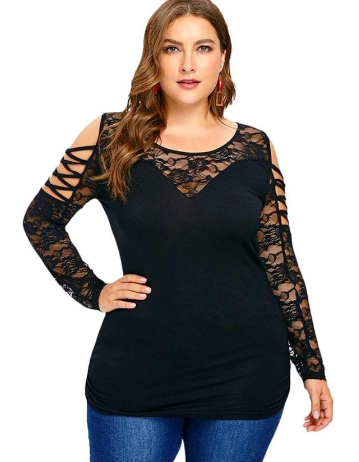 Women's Black Floral Lace Cold Shoulder Plus Size Blouse, INstyle fashion