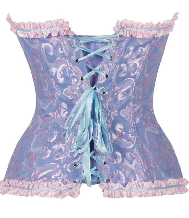 Women's Blue Victorian Lace Ruffled Corset, INstyle fashion