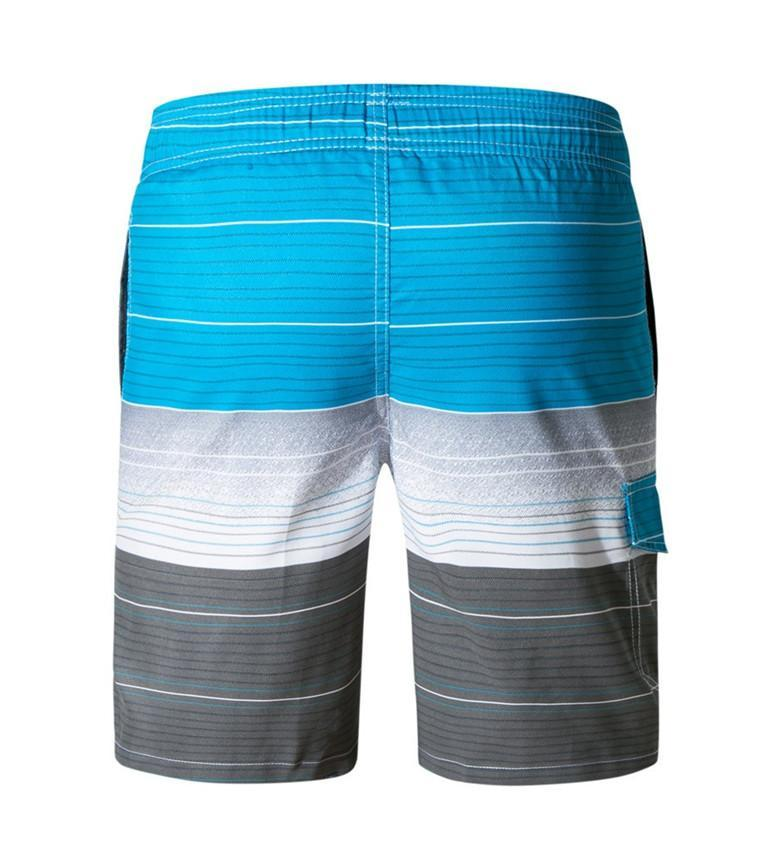 Men's Blue White And Gray Thin Striped Swimwear, INstyle fashion