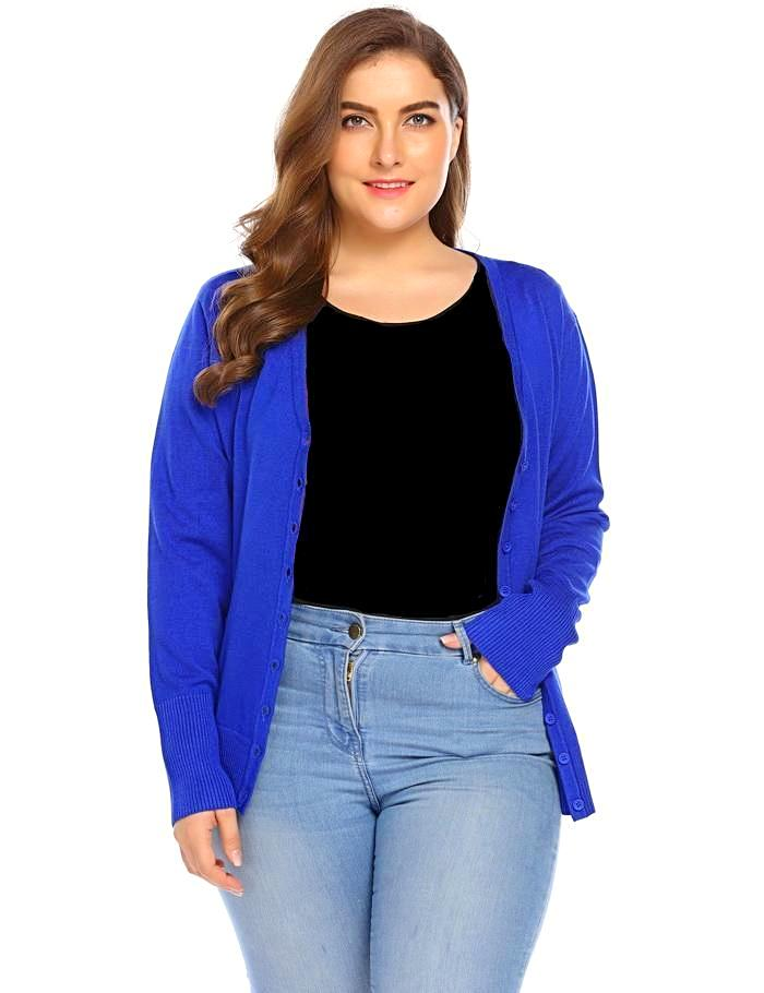 Women's Blue Button Down Plus Size Cardigan, INstyle fashion