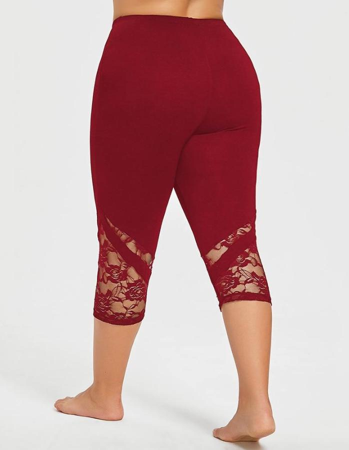 Women's Red Lace Mid Calf Plus Size Leggings, INstyle fashion