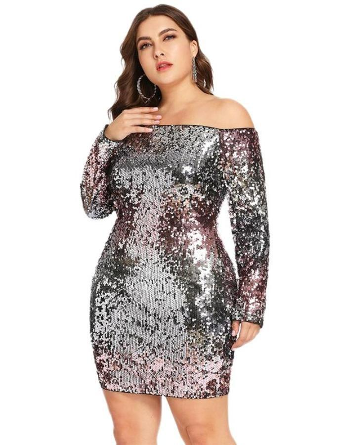 Women's Silver Multi Color Sequin Plus Size Dress, INstyle fashion