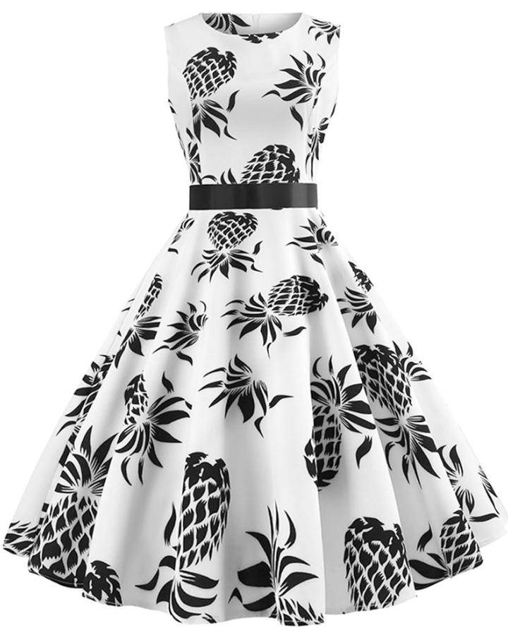 Women's White Pineapple Print 50s Vintage Dress INstyle fashion