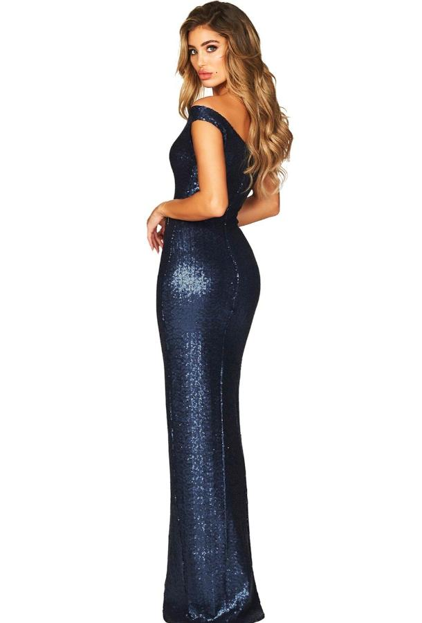 Women's Dark Blue One Shoulder High Split Dress, INstyle fashion