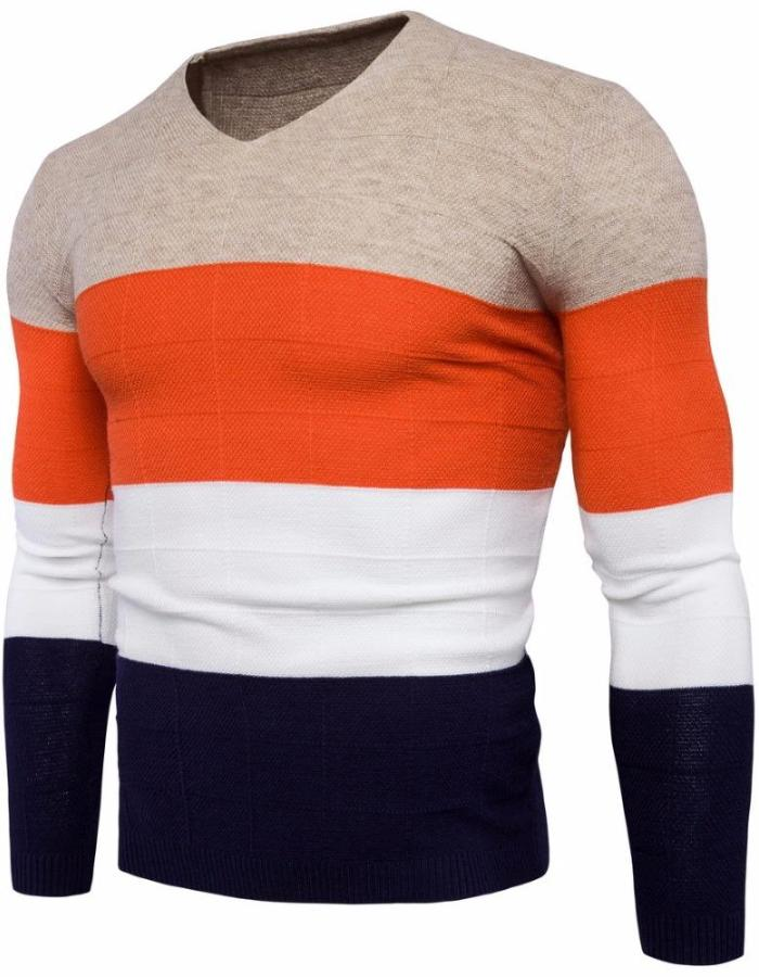 Men's Beige Four Color Long Sleeve Sweater, INstyle fashion