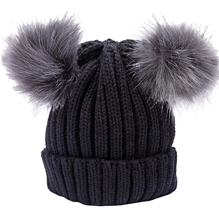 Women's Black Double Pom Pom Knit Beanie, INstyle fashion