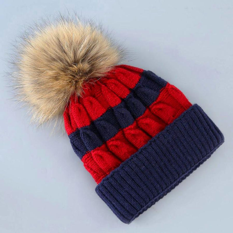 Women's Red And Blue Striped Knit Beanie With Fur, INstyle fashion