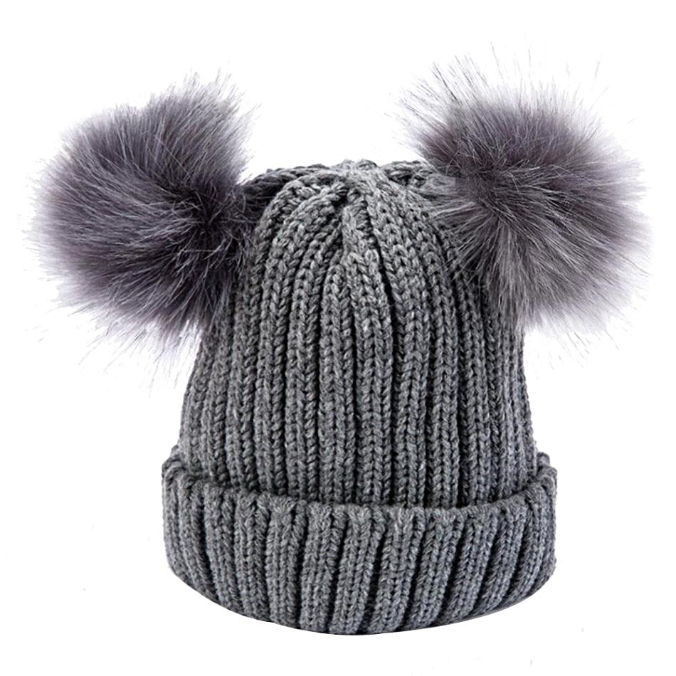 Women's Gray Double Pom Pom Knit Beanie, INstyle fashion