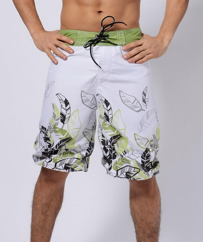 Men's Green Leaves Long Board Shorts, INstyle fashion