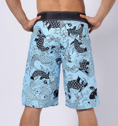 Men's Blue Koi Long Board Shorts, INstyle fashion