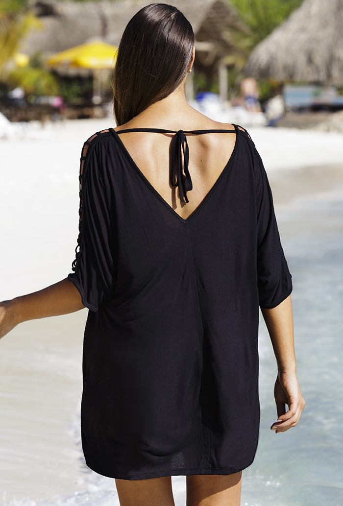 Women's Black Casual Cut-Out Plus Size Cover Up, INstyle fashion