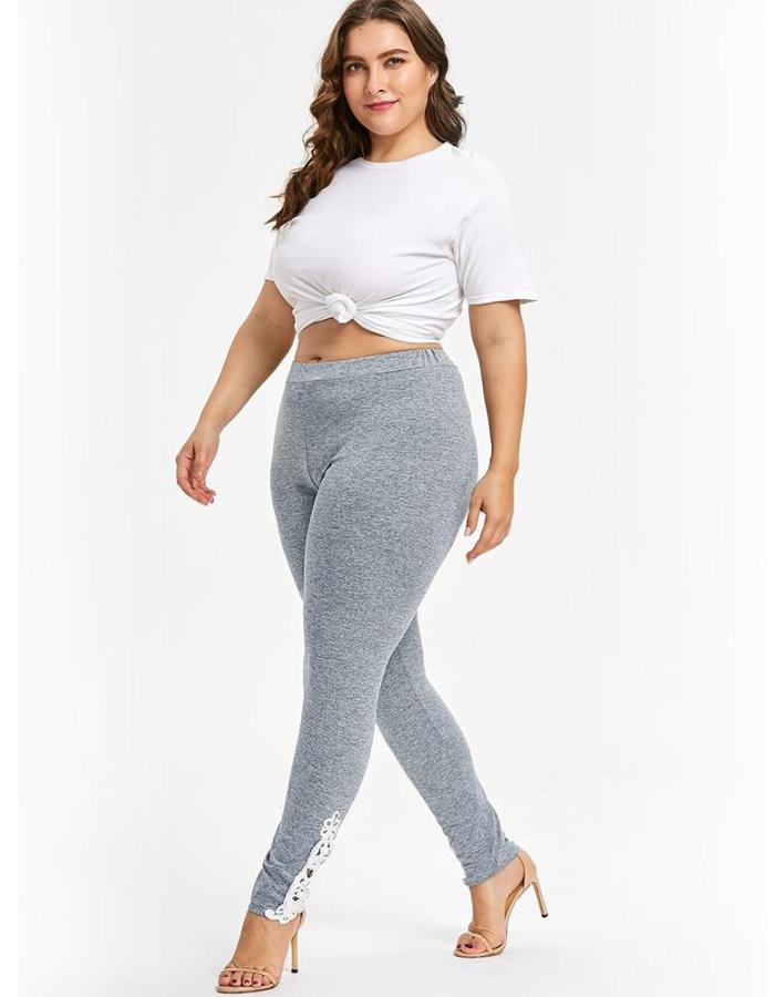 Women's Gray Cut Out Ankle Design Plus Size Leggings, INstyle fashion