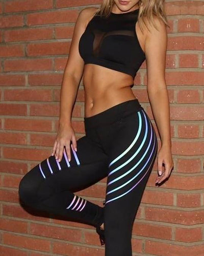 Women's Black Bra And Iridescent Fitness Leggings Set, INstyle fashion