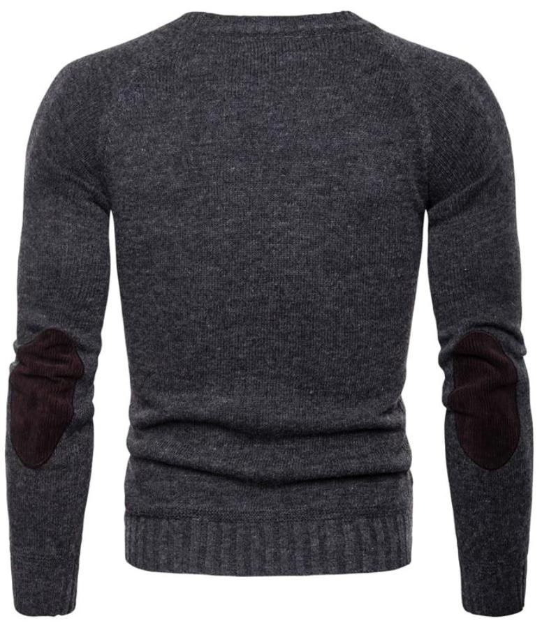 Men's Gray Fitted England Style Sweater, INstyle fashion