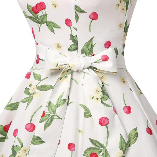 Women's White With Cherries Vintage Dress, INstyle fashion