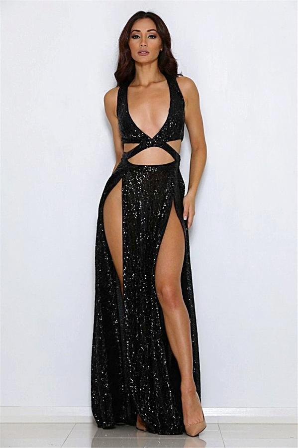 Women's Black Plunging High Split Dress, INstyle fashion